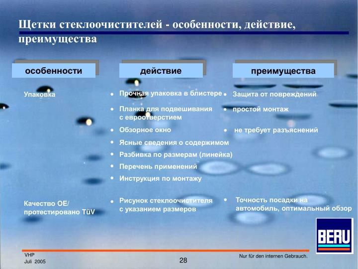 Щетки стеклоочистителей - особенности, действие, преимущества