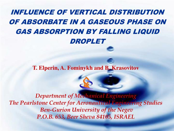 INFLUENCE OF VERTICAL DISTRIBUTION OF ABSORBATE IN A GASEOUS PHASE ON GAS ABSORPTION BY FALLING LIQU...