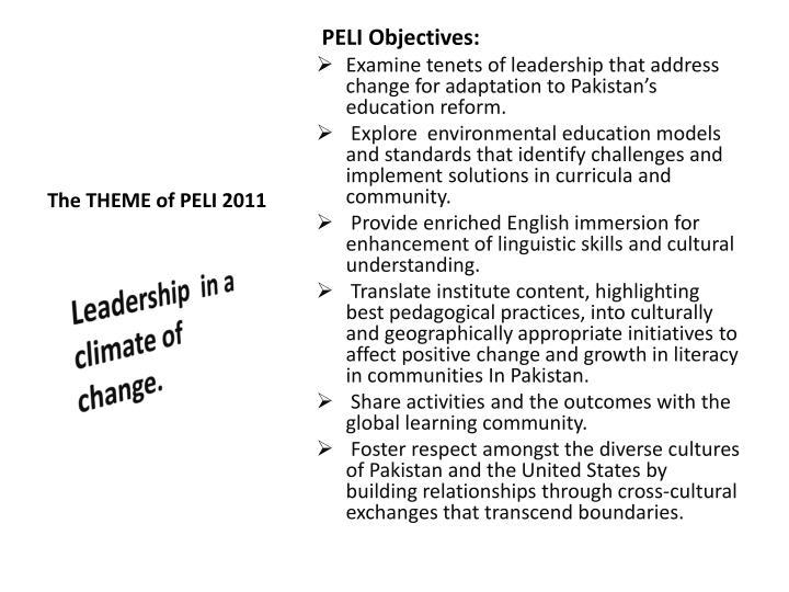 The THEME of PELI 2011