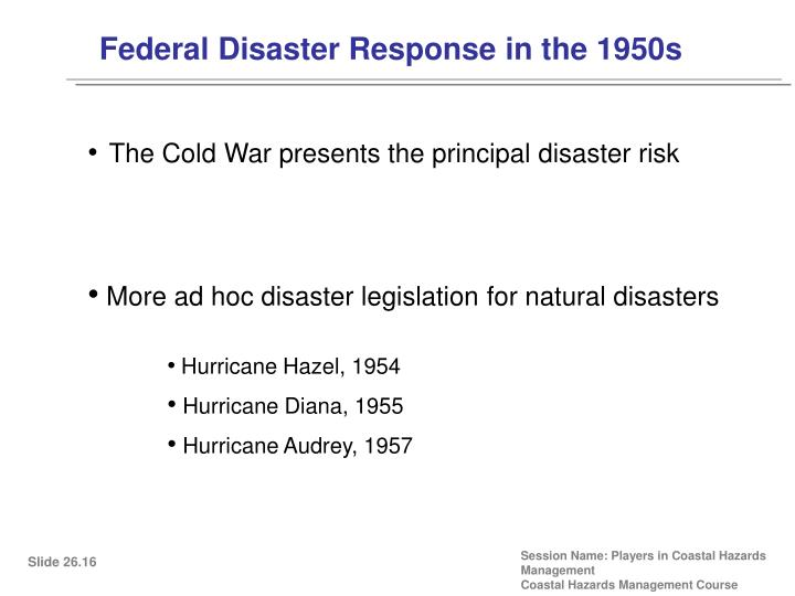 Federal Disaster Response in the 1950s