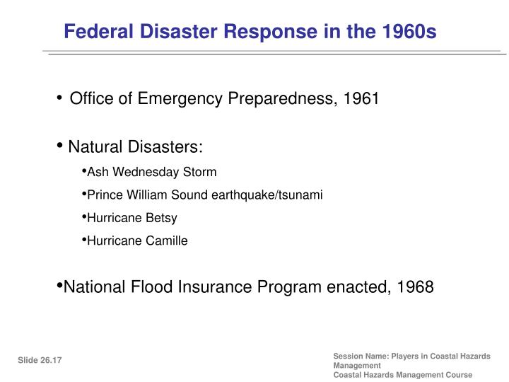 Federal Disaster Response in the 1960s