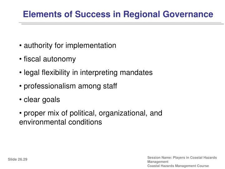 Elements of Success in Regional Governance