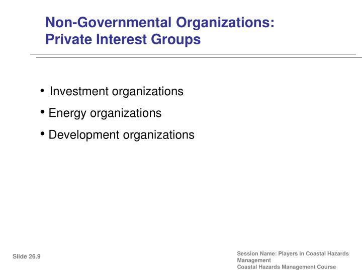 Non-Governmental Organizations: