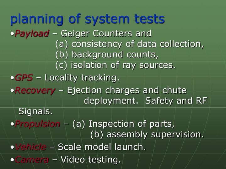 planning of system tests