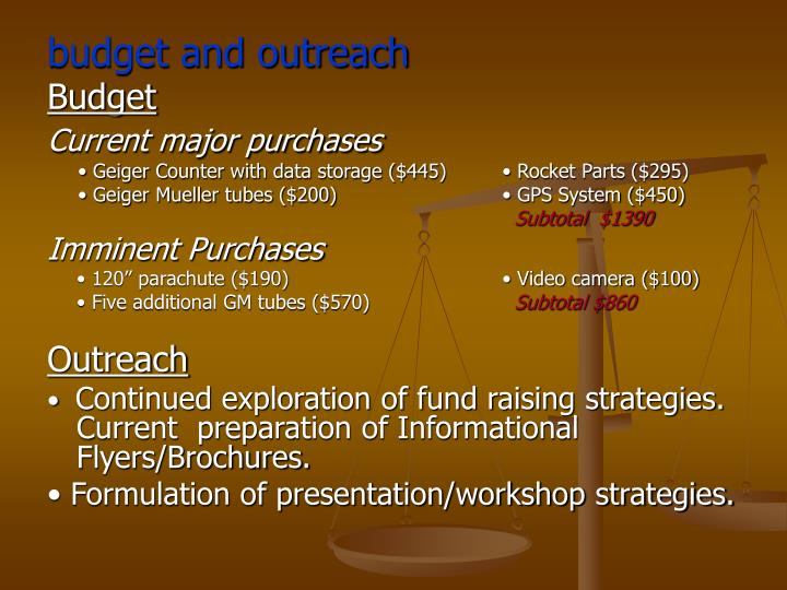 budget and outreach
