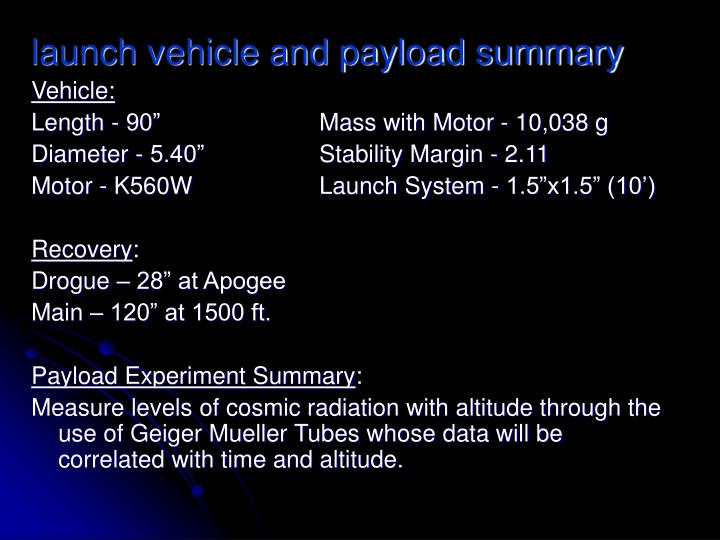 launch vehicle and payload summary