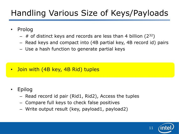 Handling Various Size of Keys/Payloads