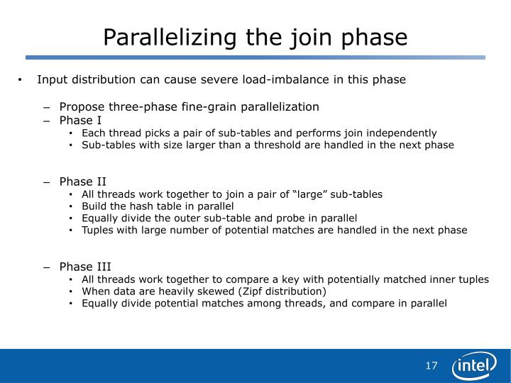 Parallelizing the join phase