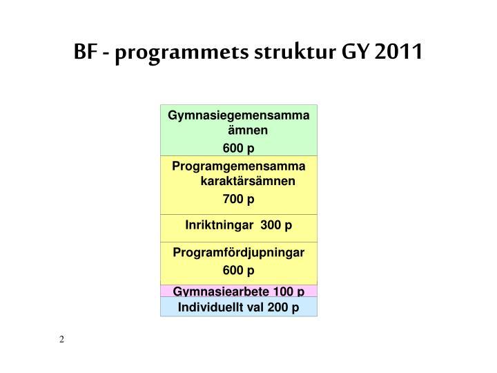 BF - programmets struktur GY 2011