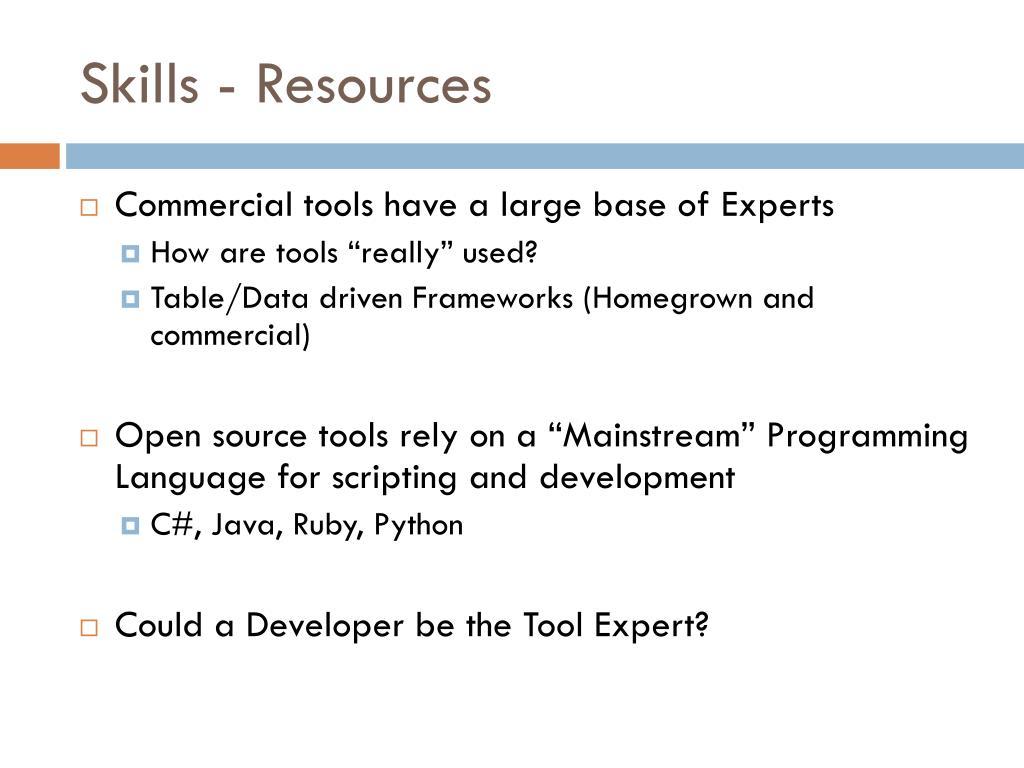 Skills - Resources
