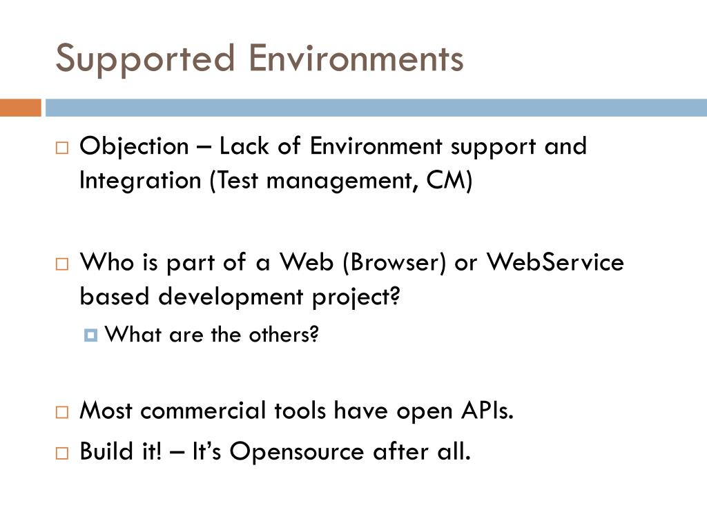 Supported Environments