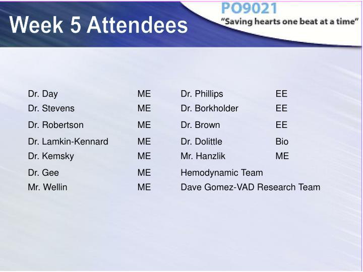 Week 5 Attendees
