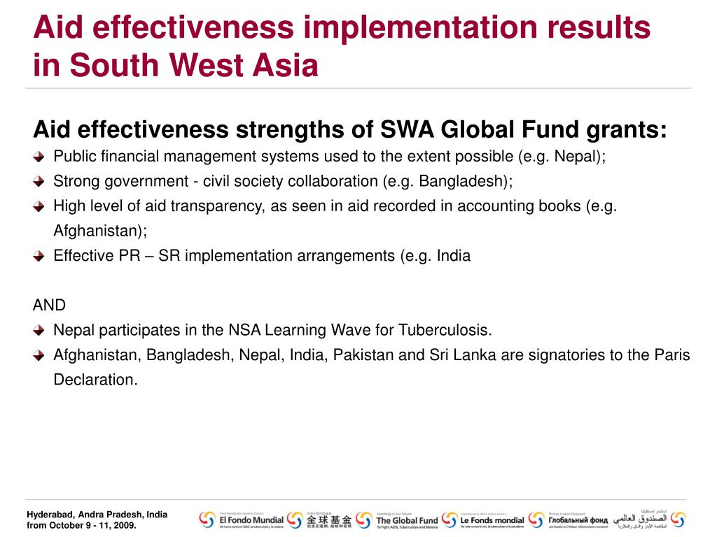 Aid effectiveness implementation results in South West Asia