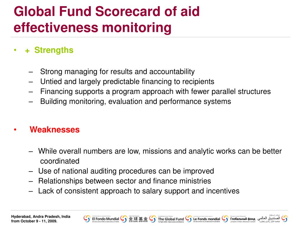 Global Fund Scorecard of aid effectiveness monitoring