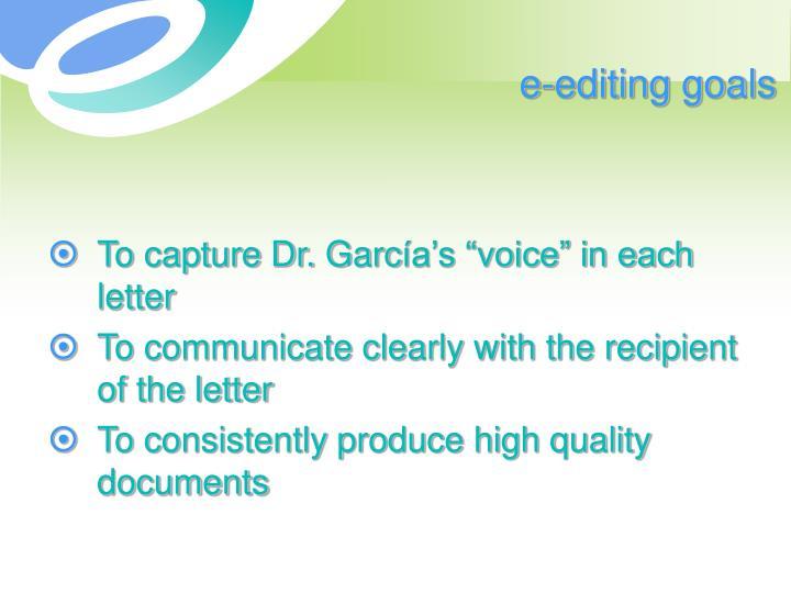 e-editing goals