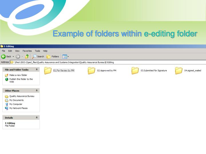 Example of folders within