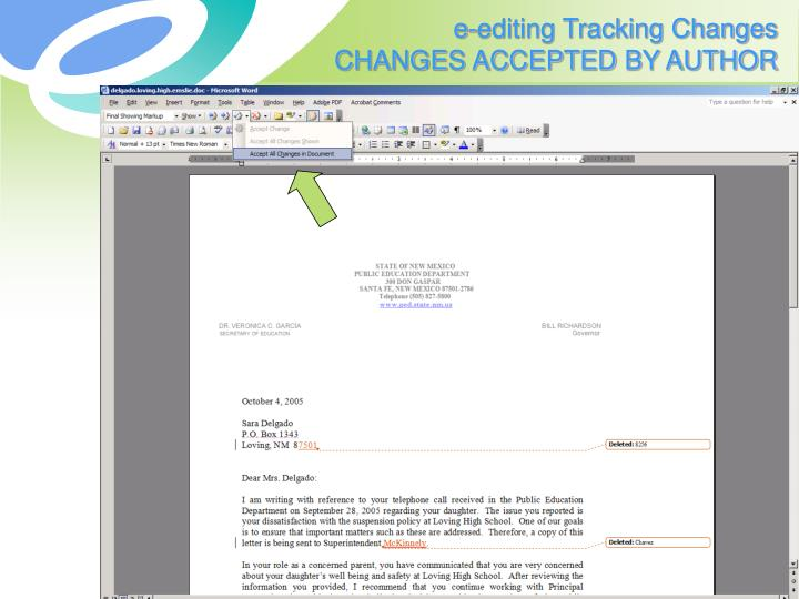 e-editing Tracking Changes