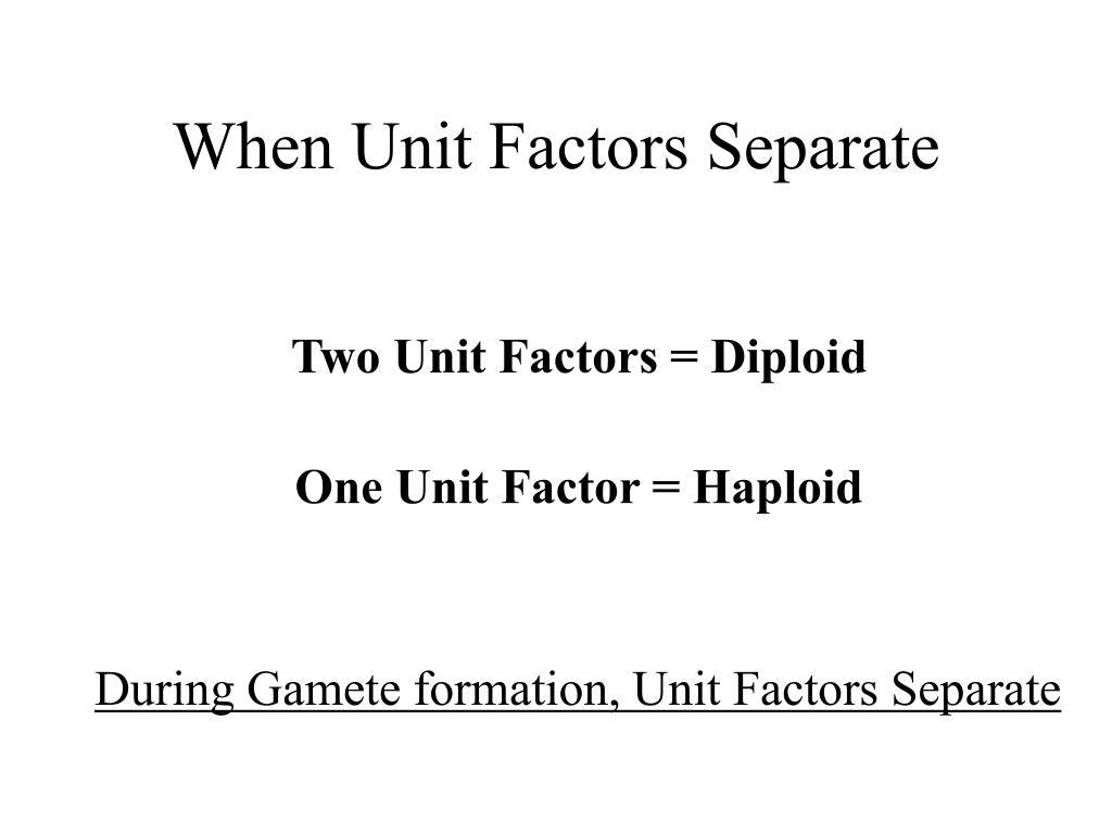 When Unit Factors Separate