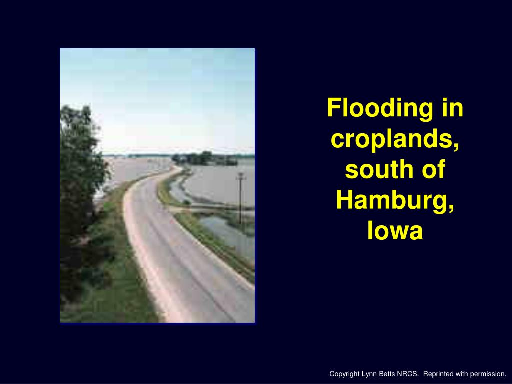 Flooding in croplands,