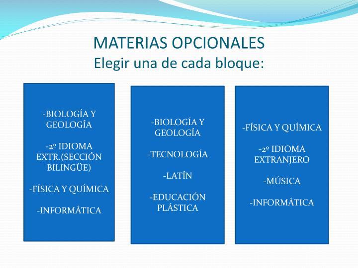 MATERIAS OPCIONALES