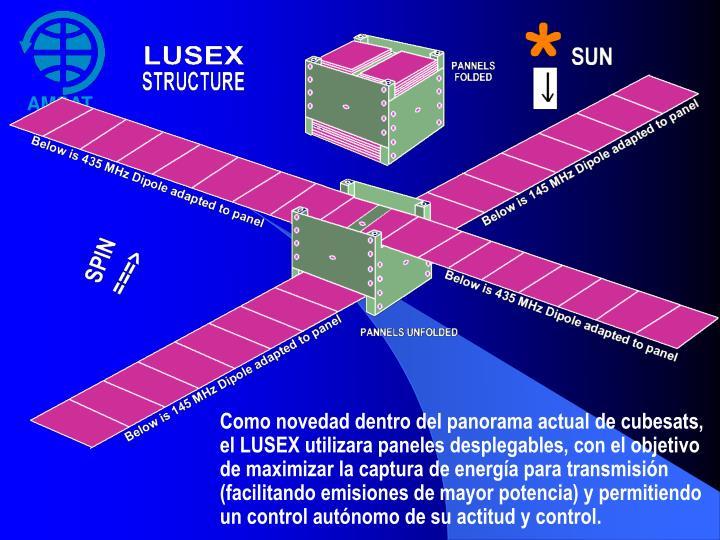 Como novedad dentro del panorama actual de cubesats, el LUSEX utilizara paneles desplegables, con el objetivo de maximizar la captura de energía para transmisión (facilitando emisiones de mayor potencia) y permitiendo un control autónomo de su actitud y control.