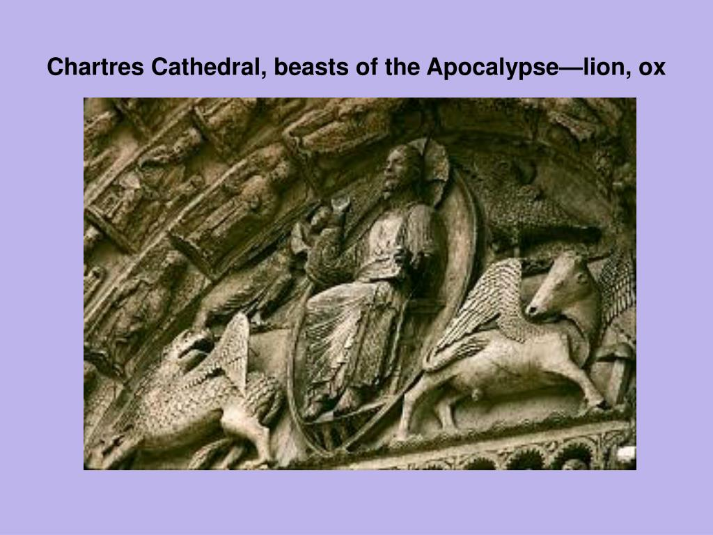 Chartres Cathedral, beasts of the Apocalypse—lion, ox