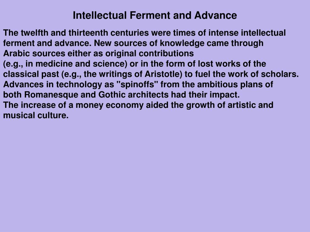 Intellectual Ferment and Advance