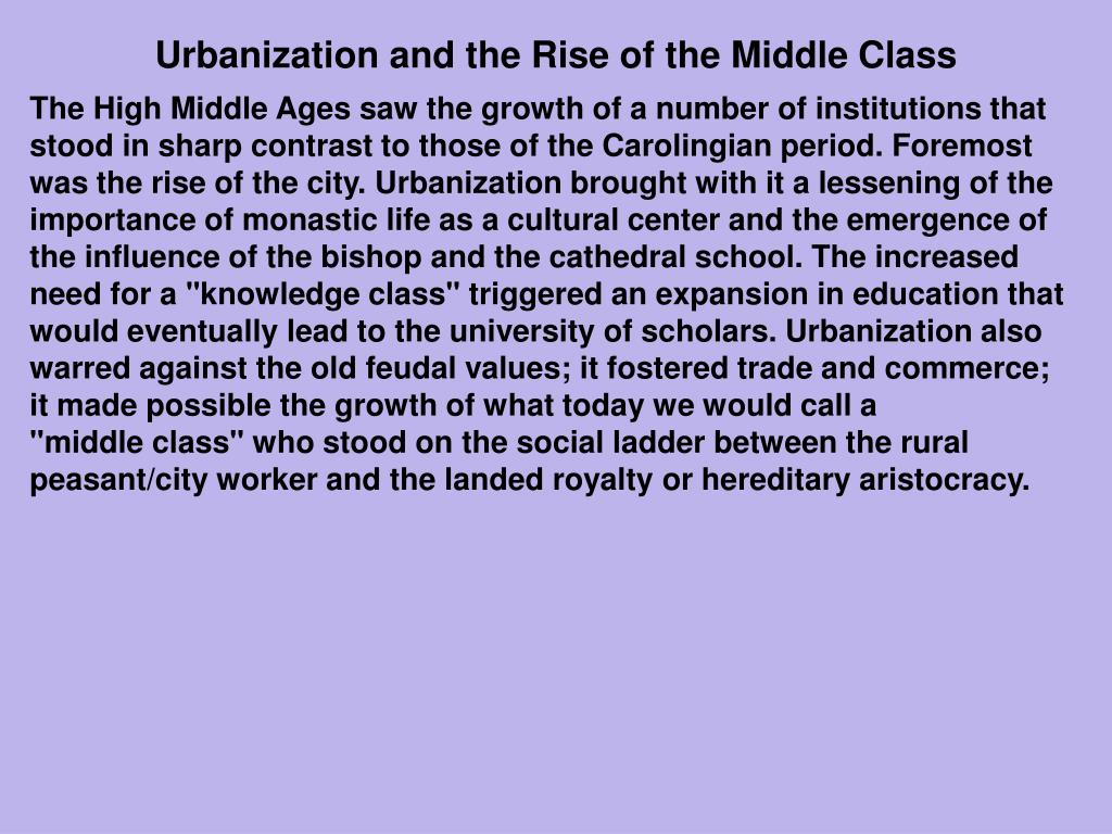 Urbanization and the Rise of the Middle Class