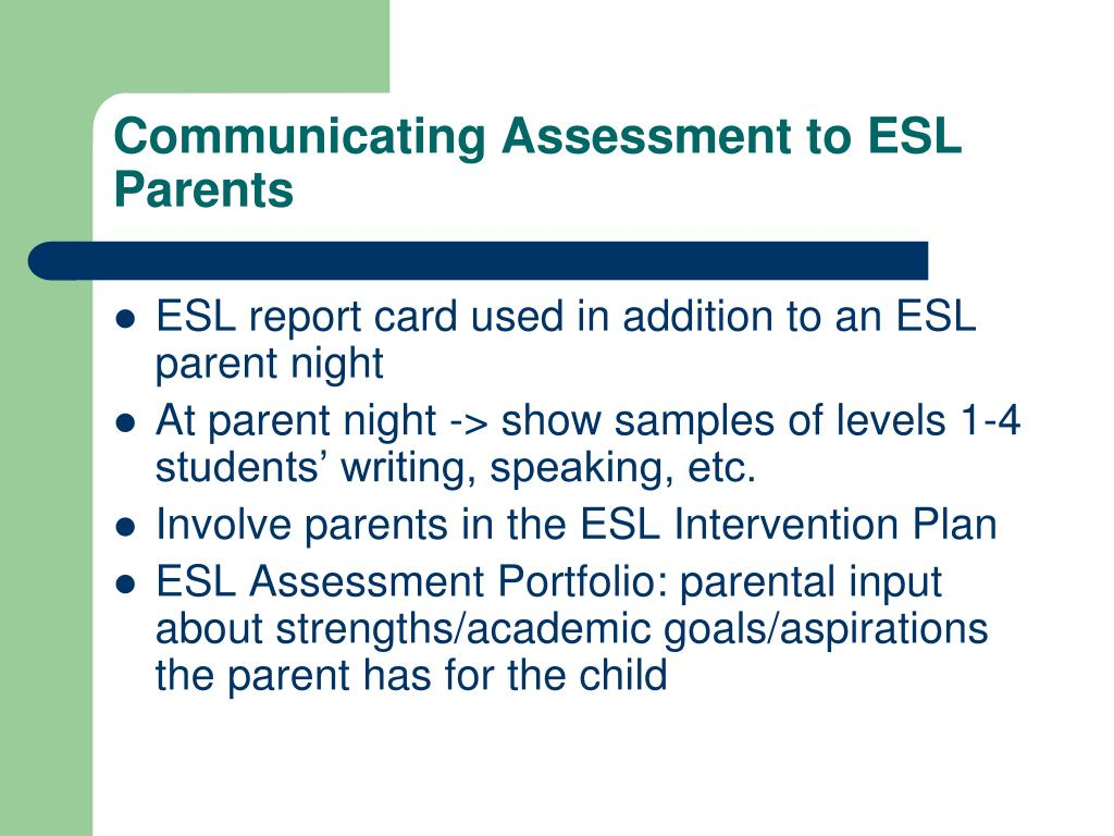 Communicating Assessment to ESL Parents