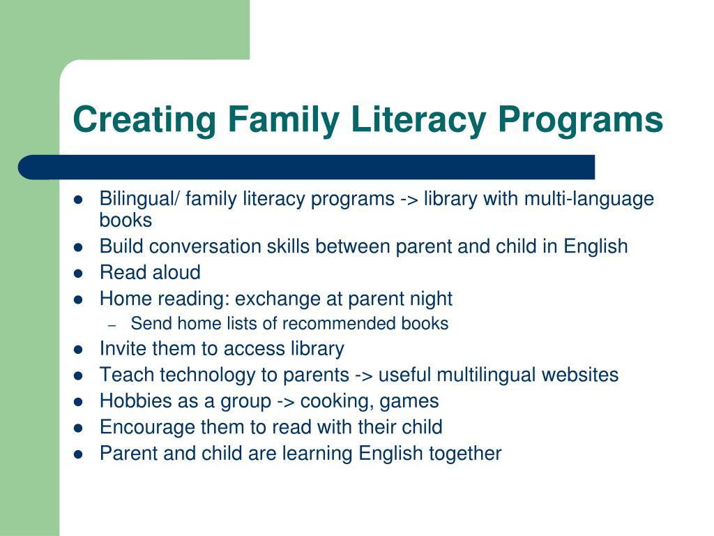 Creating Family Literacy Programs