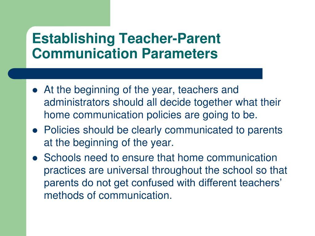 Establishing Teacher-Parent Communication Parameters