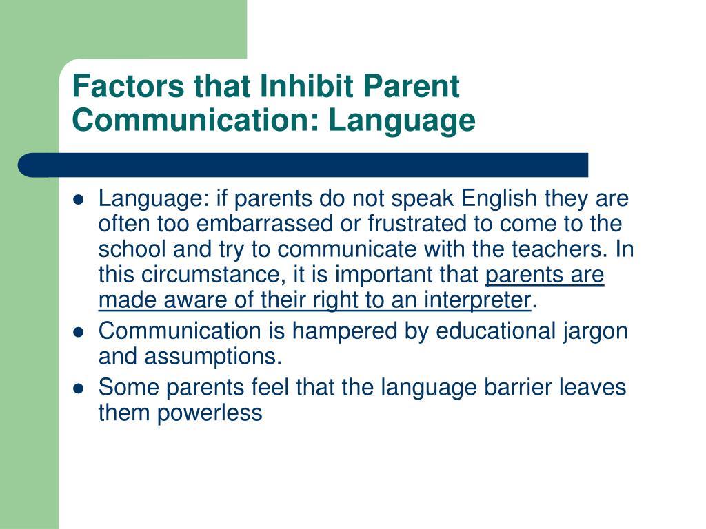Factors that Inhibit Parent Communication: Language