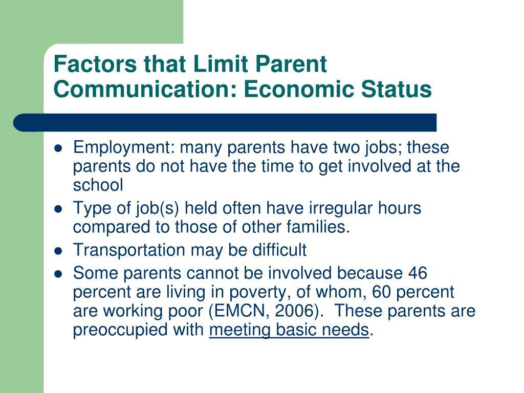 Factors that Limit Parent Communication: Economic Status