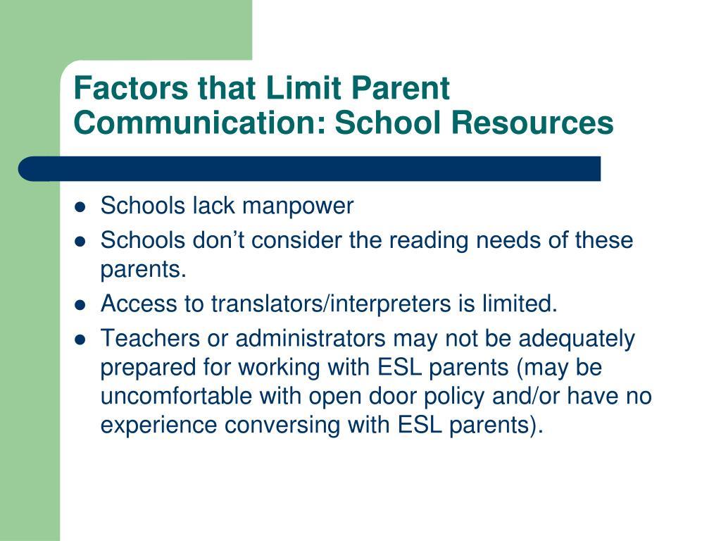 Factors that Limit Parent Communication: School Resources