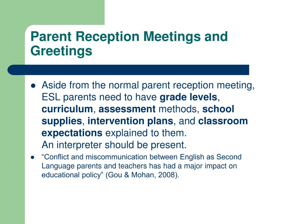 Parent Reception Meetings and Greetings