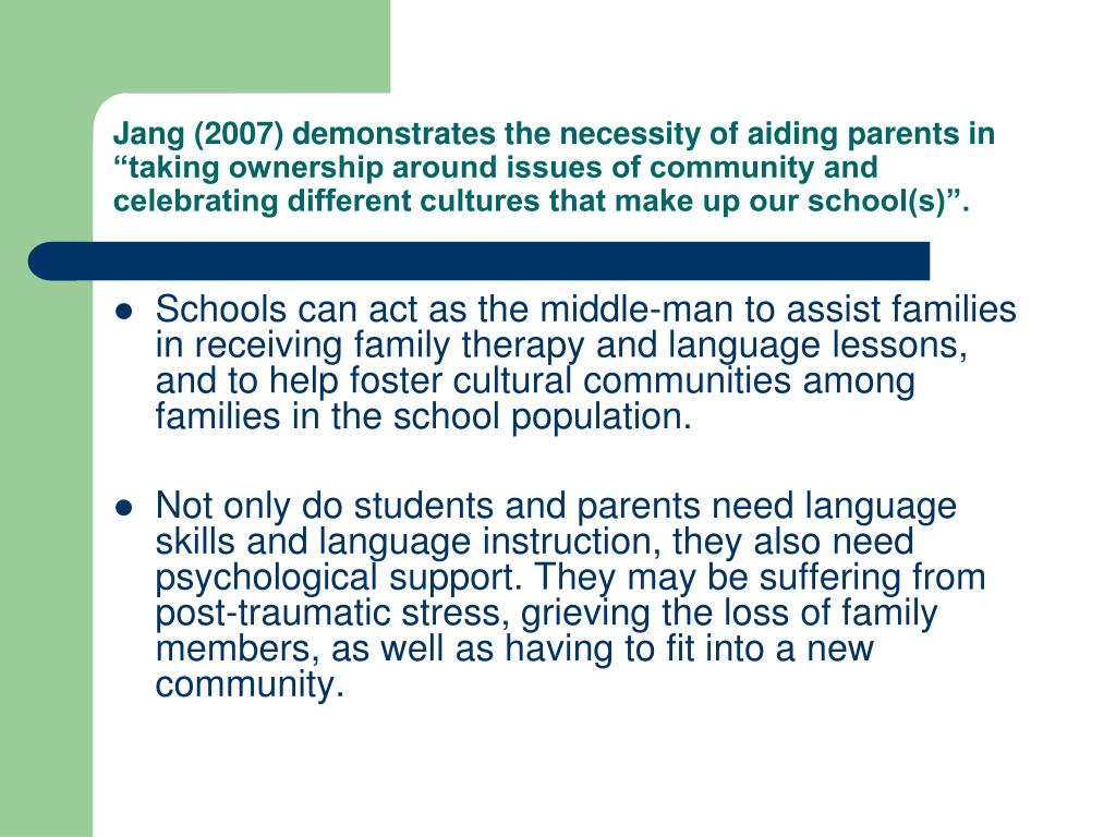 """Jang (2007) demonstrates the necessity of aiding parents in """"taking ownership around issues of community and celebrating different cultures that make up our school(s)""""."""