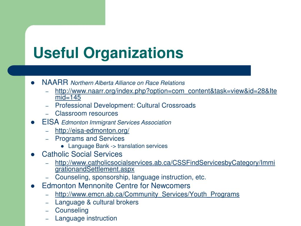 Useful Organizations