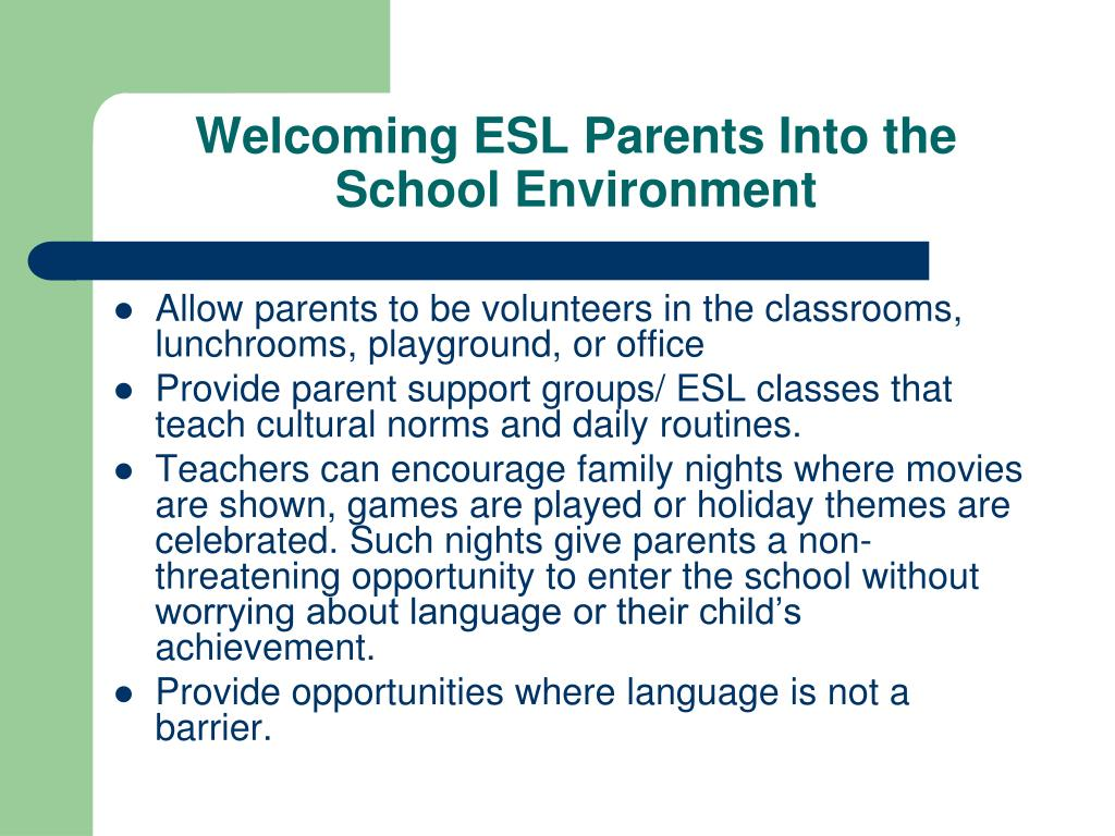 Welcoming ESL Parents Into the School Environment