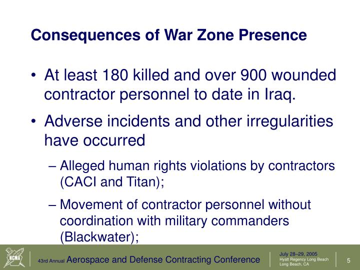 Consequences of War Zone Presence