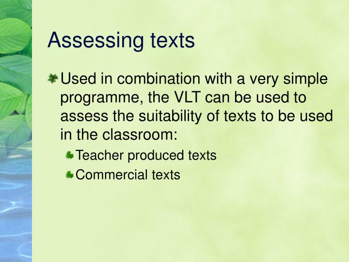 Assessing texts