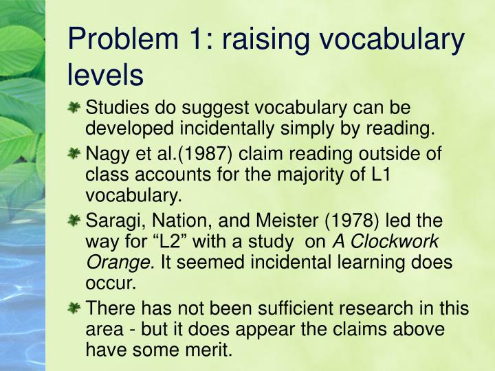 Problem 1: raising vocabulary levels