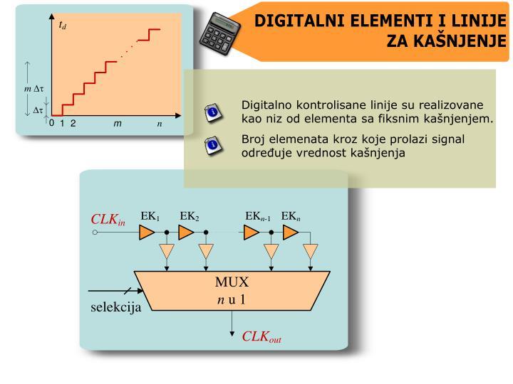 Digitalno kontrolisane linije su realizovane kao niz od elementa sa fiksnim kanjenjem.