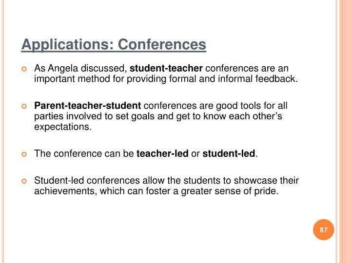 Applications: Conferences