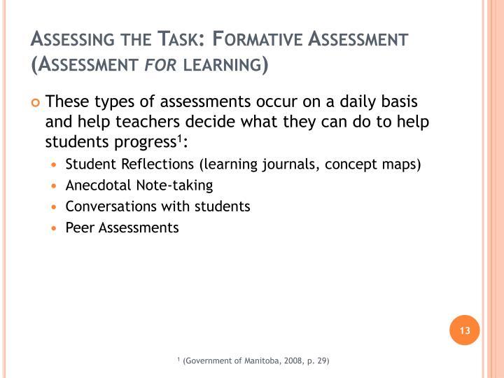 Assessing the Task: Formative Assessment (Assessment