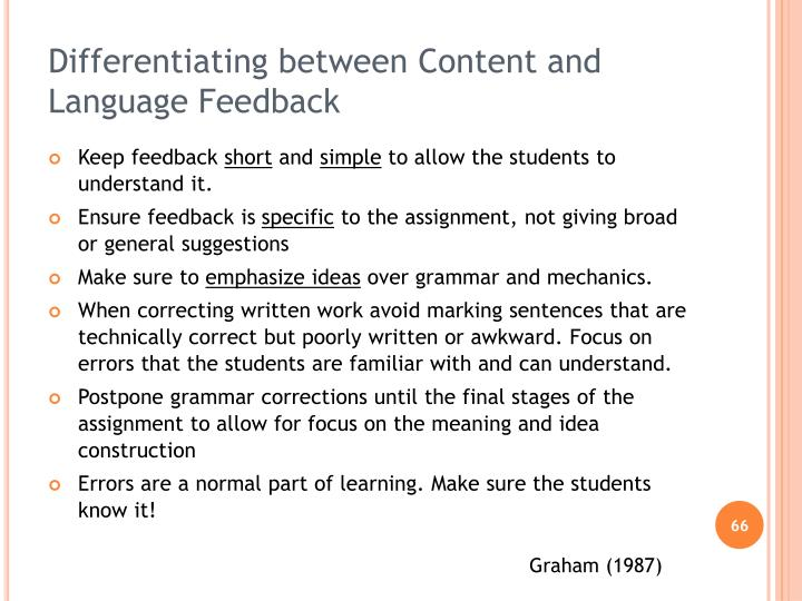 Differentiating between Content and Language Feedback