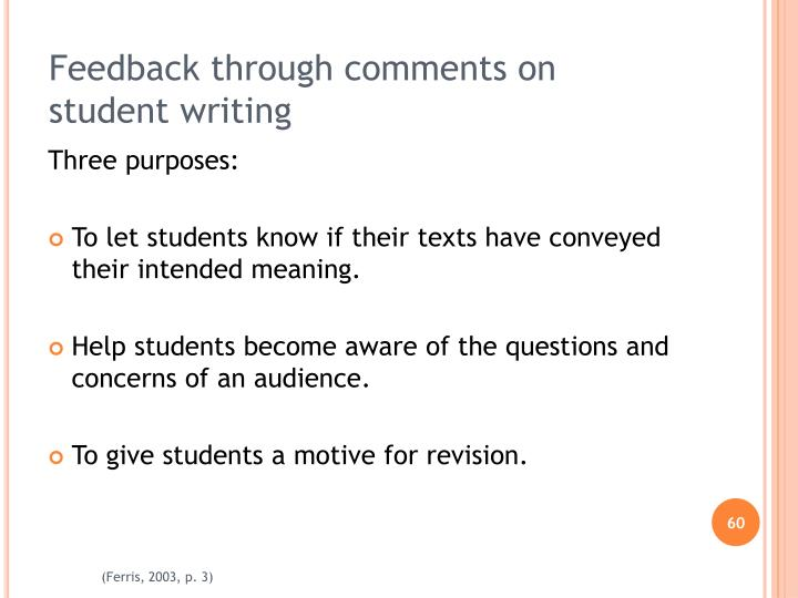 Feedback through comments on student writing