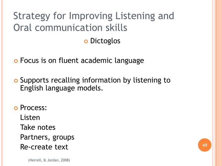 Strategy for Improving Listening and Oral communication skills