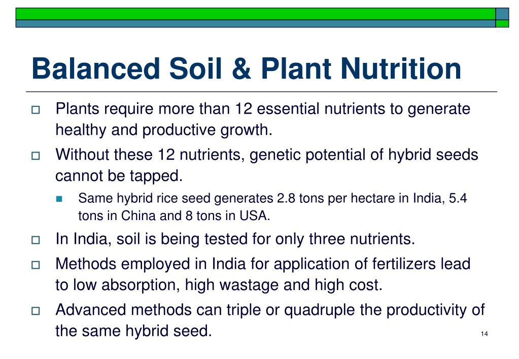 Balanced Soil & Plant Nutrition