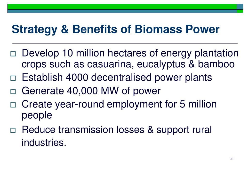 Strategy & Benefits of Biomass Power