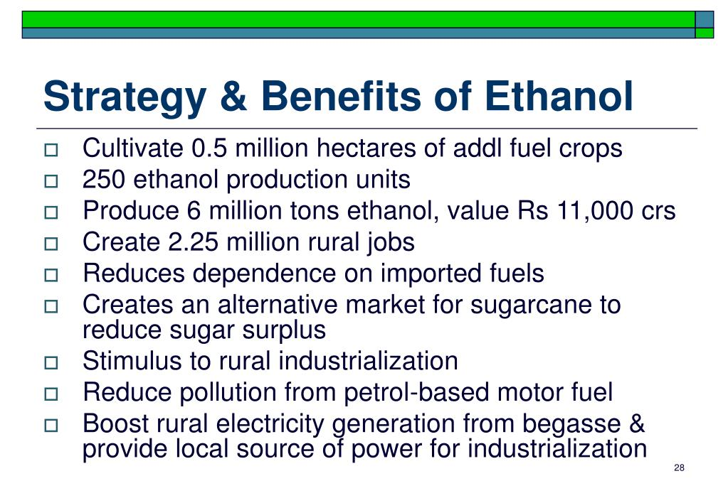 Strategy & Benefits of Ethanol